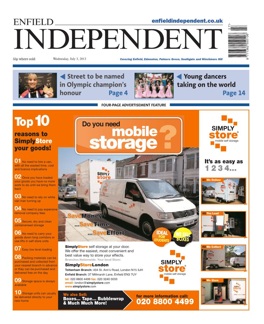 Enfield Independent - Advertising for Storage Services
